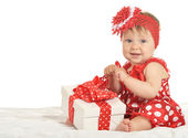 Aby girl in   dress  with gift — Stock Photo