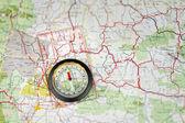 Compass Needle Points North — Stock Photo