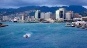 View Honolulu From Cruiseship Leaving Harbor — Stock Photo