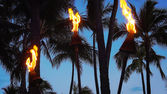 Tiki Torches Burning on Waikiki Beach at Night — Stock Photo
