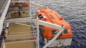Lifeboat Being Brought Back Onboard a Cruise Ship — Stock Photo