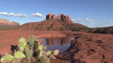 Cathedral Rock Sedona Arizona Landscape Reflection — Stock Video
