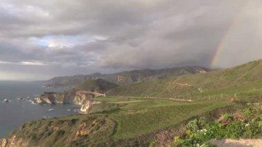 Rainbow Over Big Sur California Coastline — Stock Video