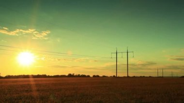Sunset and power lines. PAL  Time lapse — Stock Video