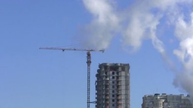 City industrial landscape with a smoke.  PAL Time lapse — Stock Video