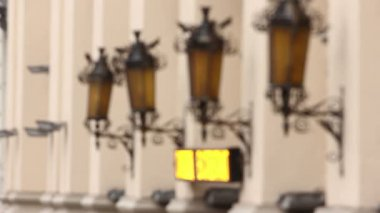 Streetlight and running advertizing. Blurred scene — Stock Video
