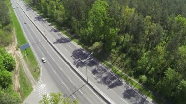 Highway with cars. Aerial — Stock Video