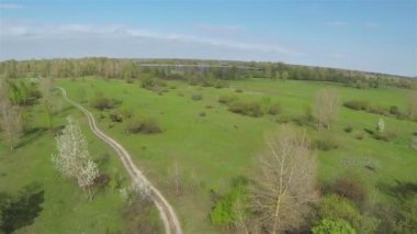 Field dirt road on a meadow. Aerial — Stock Video