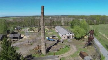 Old pipe on sawmill .Aerial — Stock Video