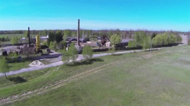 Flight over old sawmill. Aerial — Stock Video