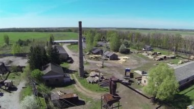 Panorama of old sawmill. Aerial — Stock Video
