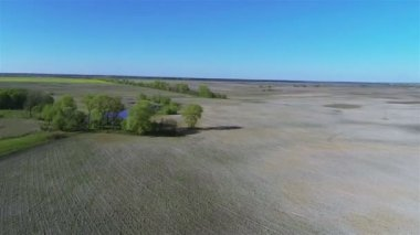 Rural landscape with fields, river, and blue sky  .Aerial — Vídeo de Stock
