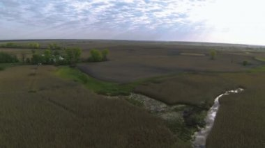 Rural   fields  with sky beams  .Aerial   landscape — Video Stock