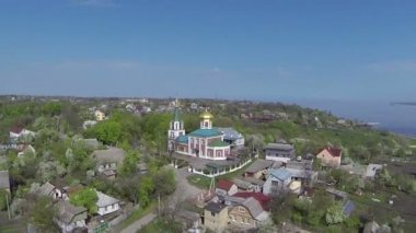 Flight over rural areas and orthodox  church. Aerial — Vídeo stock