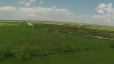 Panorama of a green field. Aerial — Stock Video
