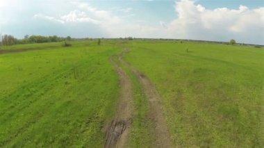 Rural Road in steppe. Aerial — Stock Video