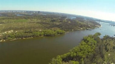 Flight over  big river t. Aerial panorama — Stock Video