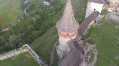 Fortress weather vane and walls. Aerial shot, top view — Stock Video