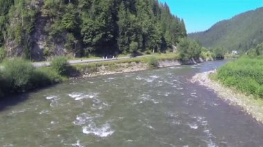 Mountain river in  occupied district. Aerial shot — Stock Video