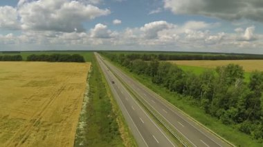 Flight over  highway with cars. Aerial — Stock Video