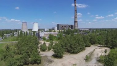 Thermal power plant in  wood .Aerial — Stock Video