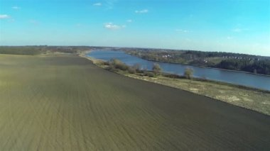 Beautiful lake and fields in rural areas. Aerial — Stock Video
