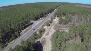 Landscape with   wood and road and cars  . Aerial  top view — Vídeo de Stock