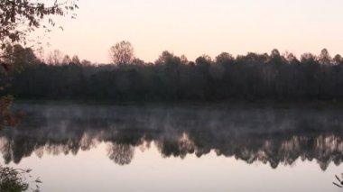 Fog on the river before sunrise . PAL  landscape — Stock Video