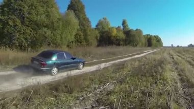Lonely car on  rural dirt road with. Aerial — Stock Video