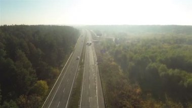 Fly over  highway with cars in sunny day and wood. Aerial — Stock Video