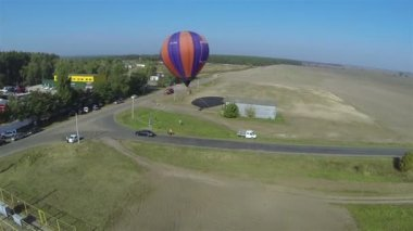 Balloon in air. Aerial view — Stock Video