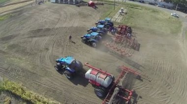 Modern new tractors  . Aerial  top view — Stock Video