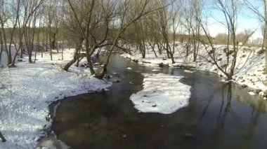 Flight over  small river in the winter wood. Aerial — Stock Video