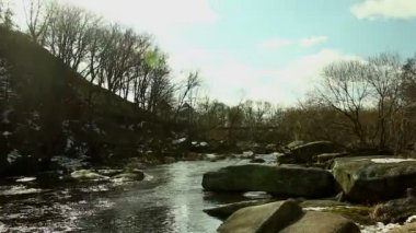 Landscape with  river and sky. Timelapse — Stock Video