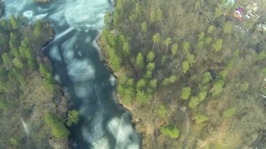 Top view  of  wood, lake in  suburb  winter . Aerial — Stock Video