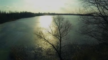 Sunset  on  frozen lake. Aerial — Video Stock