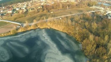 Decrease over  lake in winter. Aerial — Stock Video