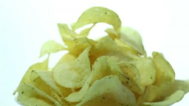 Potato  chips rotate on  white background. Close up — Stock Video