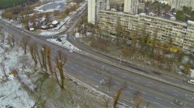 City highway in  winter. Aerial — Stock Video