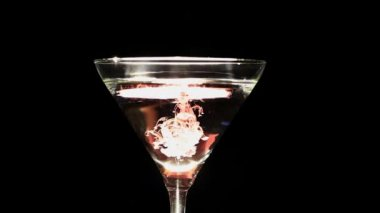 Imitation of blood falling in  wine glass — Stock Video