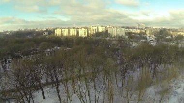 Panorama of  winter city park. Aerial — Video Stock
