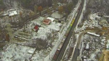 Cargo train in the winter.  Aerial — Stock Video