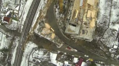 Winter city suburbs construction.  Top Aerial — Stock Video