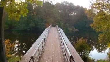 Wooden Bridge. Aerial — Vídeo de Stock