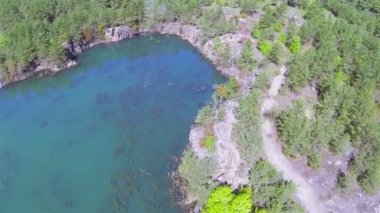 Beautiful canyon with lake and wood. Aerial  POV — Stock Video