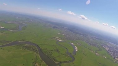 Landscape with  rivers, lakes ,city. Aerial  shooting from height of 1 kilometer — Stock Video