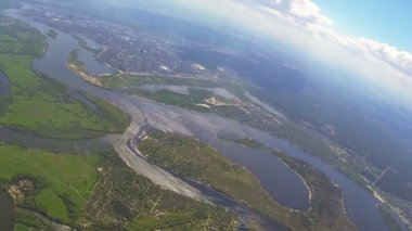 Aerial landscape from drone at  height of 1.5 kilometers. POV — Stock Video