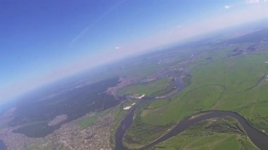 Camera filming landscape from drone at  height of 1.5 kilometers. POV — Stock Video