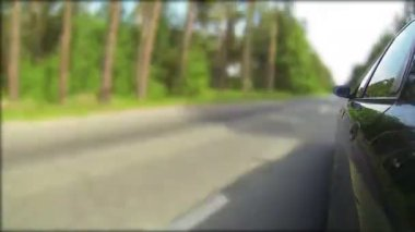 Passenger car on  road in wood. POV clip — Stock Video
