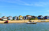 Colored houses on the beach — Stock Photo